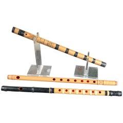 Japan Old Handmade Threesome Bamboo Flutes Shakuhachi Zen Flutes, 1930s
