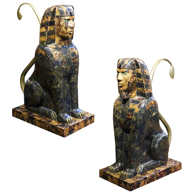 "Pair of Anthony Redmile ""Sphinx"" Coconut Shell, Brass and Malachite"