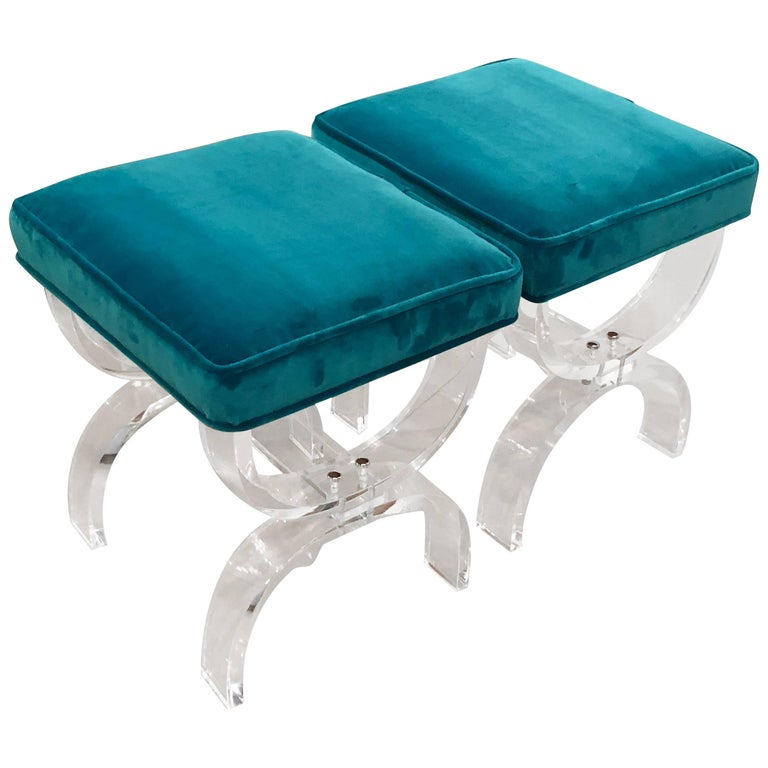 Vintage Pair of Lucite X-Benches Stools Blue Velvet Upholstery For Sale