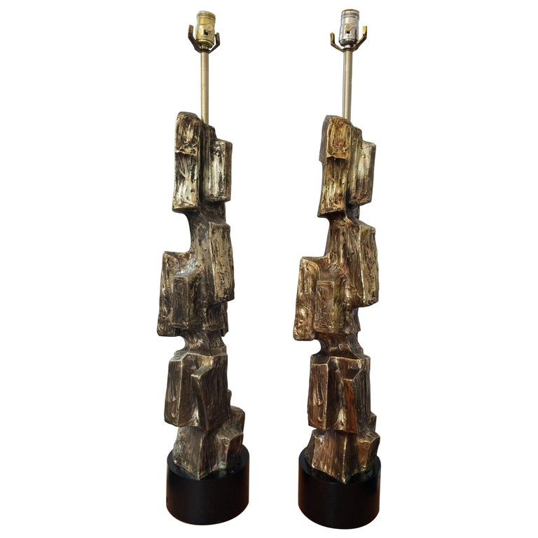 Pair of Large Brutalist Table Lamps by Maurizio Tempestini