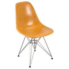 Ochre Eames Shell Chair on Nickel Eiffel Base