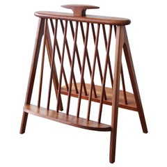Arthur Umanoff Sculpted Walnut Midcentury Record Holder or Magazine Rack