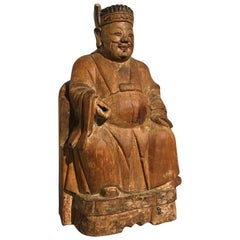 17th Century Chinese Carved Camphor Wood Figure of Caishen, the God of Wealth