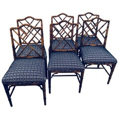 Vintage Set of Six Faux Bamboo Chinese Chippendale Dining Chairs by Century