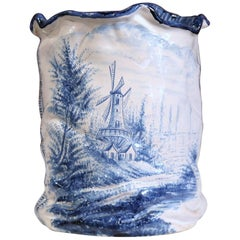 Mid-20th Century French Hand-Painted Faience Vase Delft Style with Windmill