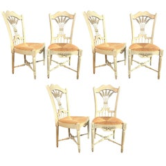 """Set of Six Distressed White Painted """"Italian"""" Rush Seat Side Chairs"""
