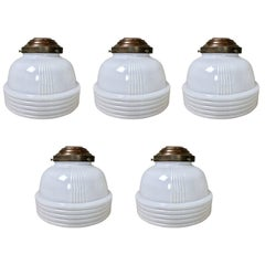 1930s Ribbed Milk Glass Ceiling Pendant Lights