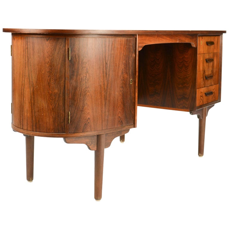 Magnificent and Sensual Kai Kristensen Rosewood Executive Desk from Denmark For Sale