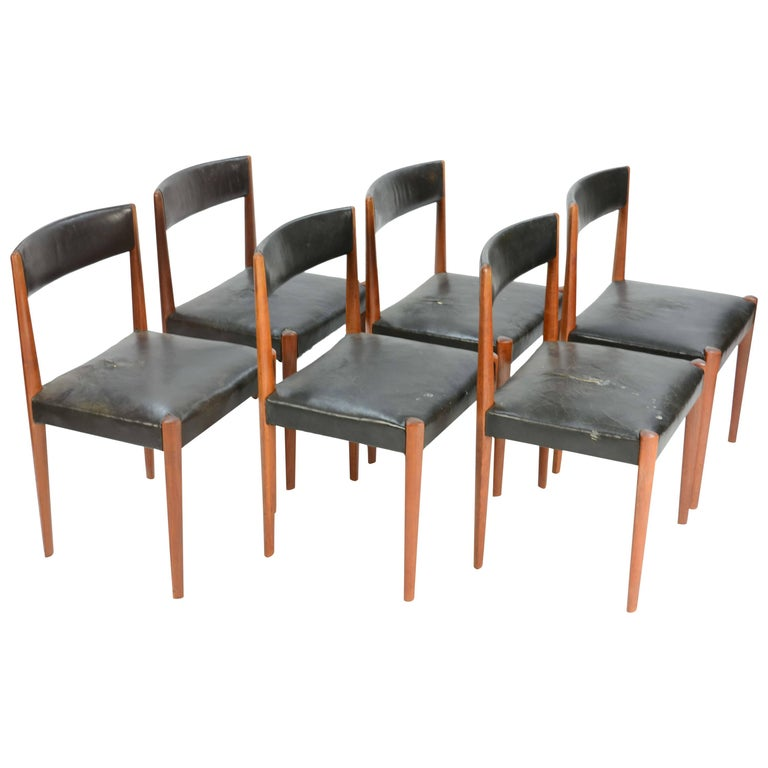 Set of Six Aage Schmidt Christensen for Fritz Hansen Dining Chairs For Sale