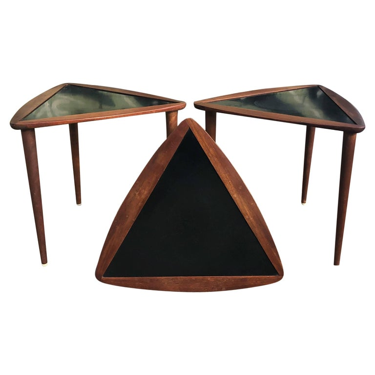 Three Walnut Nesting Tables by Arthur Umanoff