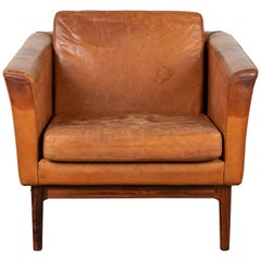 Vintage Leather and Rosewood Chair by Arne Norell