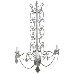 Five-Light Crystal Beaded French Chandelier, circa 1940s