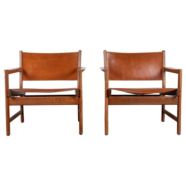 Pair of Leather Lounge Chairs Attributed to Gunnar Myrstrand For Sale