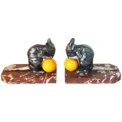 Art Deco Pair of Mice Bookends with Cheese by Moreau