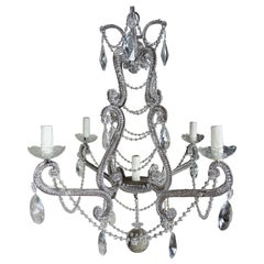 Five-Light French Crystal Beaded Chandelier, circa 1930s