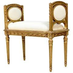 French 1920s Louis XVI Giltwood Bench