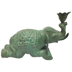 Vintage Patinated Green Metal Sculpture of an Elephant