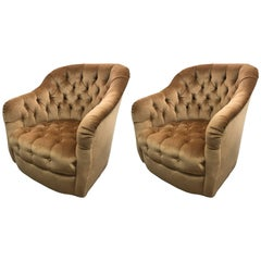 Pair of Vintage Gold Tufted Velvet Barrel Chairs on Casters, Mid-Century Modern