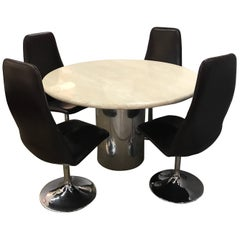 Midcentury Italian Travertine Round Dining Table and Four Johanson Design Chairs