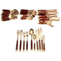 1950s Modernist Brass and Wood Inlay Flatware Set of 87 Pieces