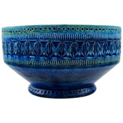 Bitossi, Rimini Blue Ceramic Bowl, Designed by Aldo Londi, Stamped, 1960s