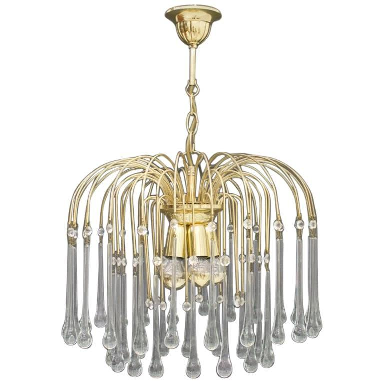 Christoph Palme Waterfall Chandelier Brass and Glass, Germany, 1970s