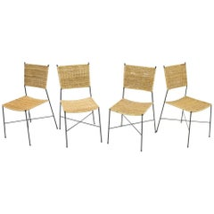 Set of Four Dining Room Chairs in Wicker and Metal, Germany, 1960s