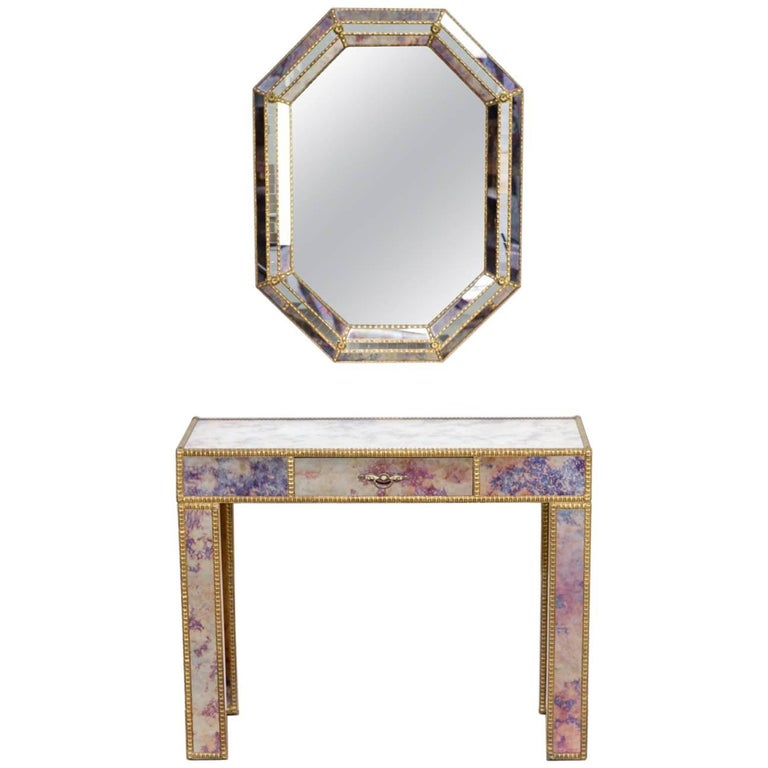 1960s Dressing Table with Mirror in Regency Style For Sale
