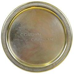 1920s Rare Vintage Italian Cordial Campari Brass Tray