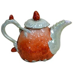 1910s Edwardian Porcelain Strawberry Shaped Teapot Made in England