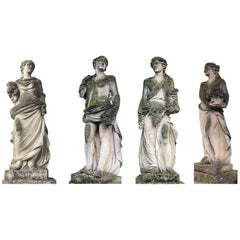 Set of Extraordinary Italian Stone Statues Representing the Four Seasons