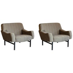 Grey/Gold Woven Fabric and Steel Structure Pair of Armchairs, Italy, circa 1950