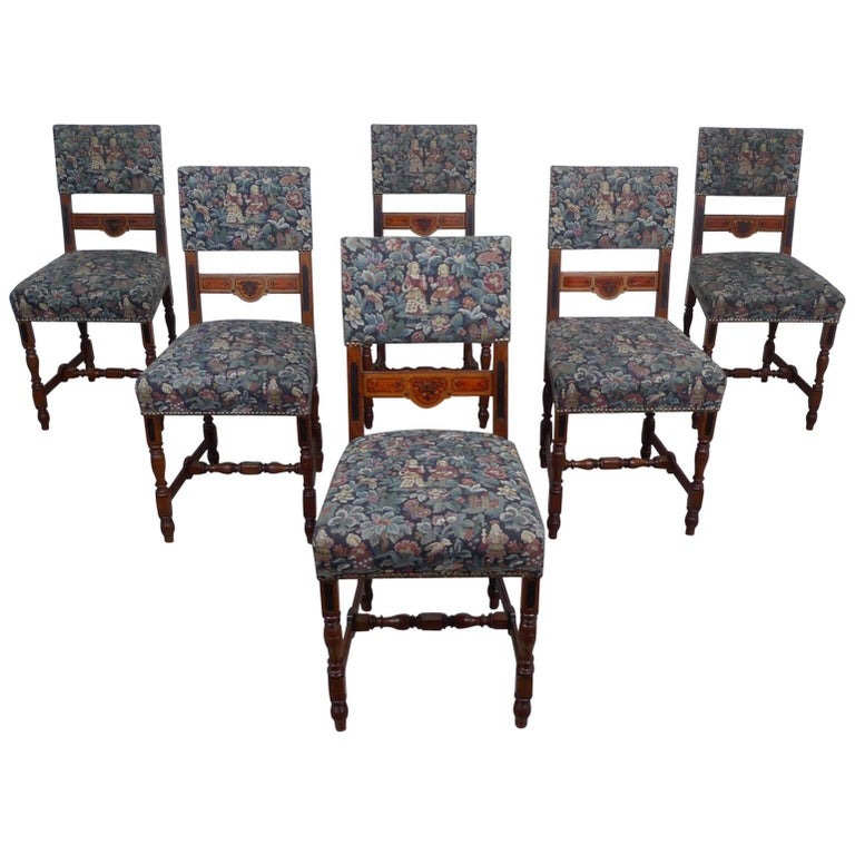 Set of Six Antique German Oak Dining Chairs from the 1890s