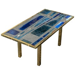 Max Ingrand Style Coffee Table, Blue Glasses, Cement, Brass, France, 1960s
