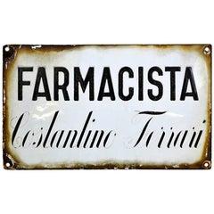 1930s Vintage Italian Enamel Metal Sign Farmacia or Pharmacy Shop