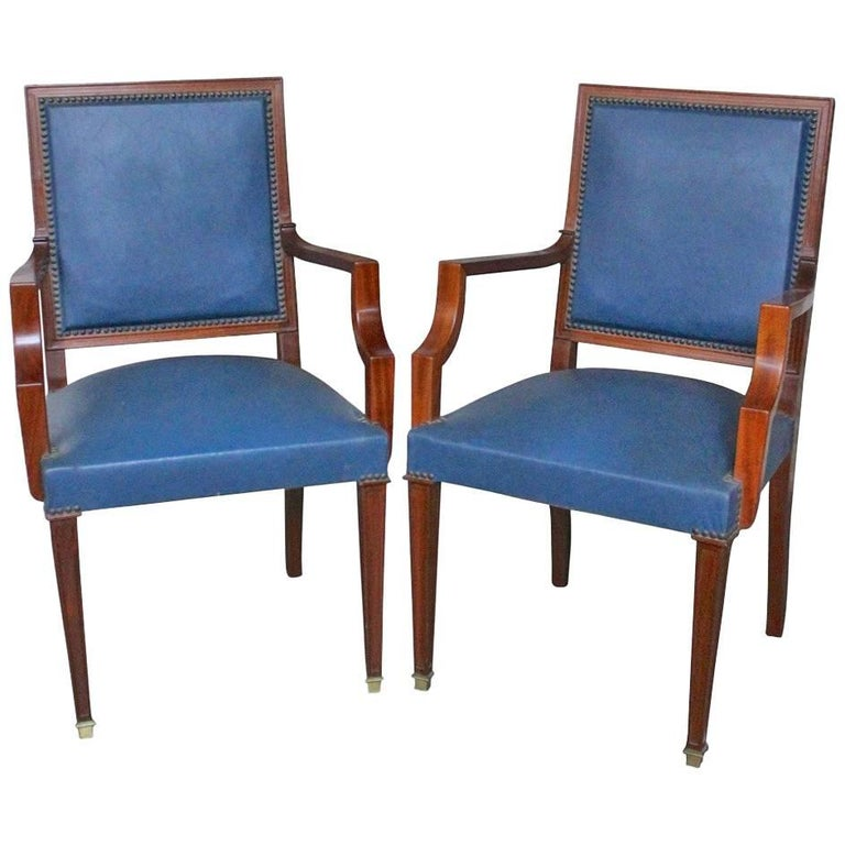 Pair of French 1940s Mahogany and Leather Armchairs