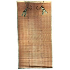Japanese Antique Set Five Silk & Bamboo Blinds or Screens Sudare, Best in Class