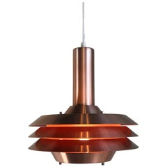 Vintage Midcentury Danish Copper Plated Pendant Light from Lyskaer, 1969