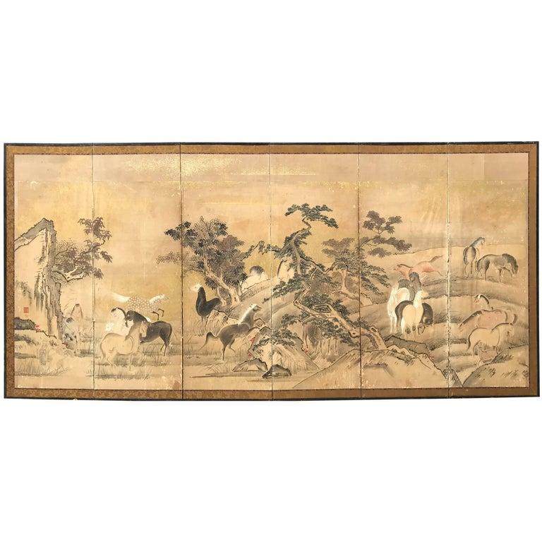 Japanese 22 Horses Fine Antique Six-Panel Screen, Edo Period, 19th Century