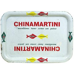 1960s Vintage White Rectangular China Martini Bar Tray Made in Italy