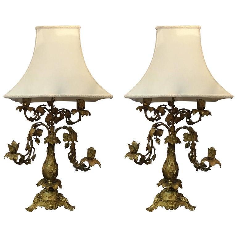 Gorgeous Pair of Antique French Bronze Lamps