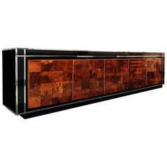 Long Burl Wood Sideboard Attributed to Willy Rizzo, circa 1970
