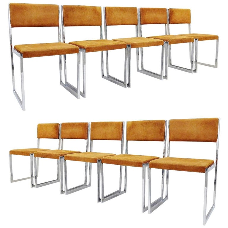 Set of Ten Chairs by Willy Rizzo, Italy 1970s