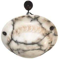 Stunning Early 1900s Arts & Crafts White and Black Veins Alabaster Pendant Light