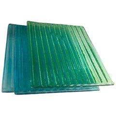 Nine Rectangular Blue and Green Pastel Murano Glass Panels, circa 1950s-1970s