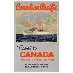 Original Vintage Canadian Pacific Travel Poster St Lawrence Route to Canada & US