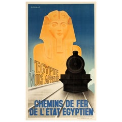 Original Vintage Art Deco Style Egyptian National Railway Poster Egypt Calls You