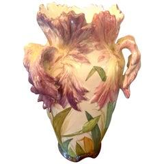 Delphin Massier, Tulipe Vase, Majolica, circa 1890-1900