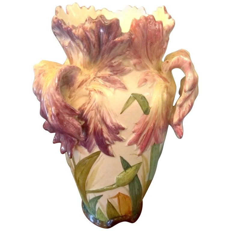 Delphin Massier, Tulipe Vase, Majolica, circa 1890-1900 For Sale