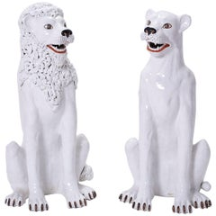 Pair of White Terra Cotta Lions